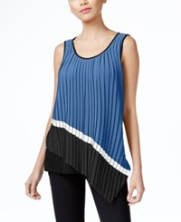Ny Collection Asymmetrical Mixed Media Pleated Top Jet Black Bright White French Blue