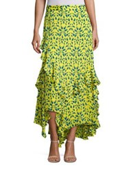 Tanya Taylor Rita Silk Tiered Ruffle Maxi Skirt Yellow Multi