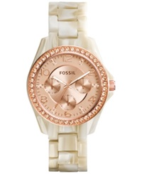 Fossil Women's Riley Shimmer Horn Acetate Bracelet Watch 38Mm Es3579