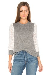 Rebecca Taylor Lace Sleeve Pullover Gray