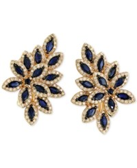 Effy Collection Royale Bleu Sapphire 2 1 2 Ct. T.W. And Diamond 1 Ct. T.W. Flower Inspired Earrings In 14K Gold Yellow Gold