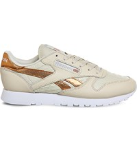 Reebok Classic Lizard Embossed Leather Trainers Cream Rose Gold Croc
