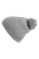 Junior Women's Capelli Of New York Metallic Knit Beanie Grey