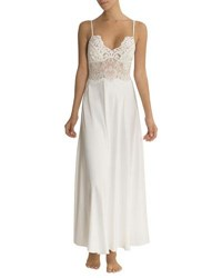 Jonquil Jasmine Lace Trim Long Nightgown Ivory