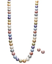 Honora Style Fresh By Honora Pearl Necklace And Earring Set Sterling Silver Multicolor Cultured Freshwater Pearl 8 9Mm