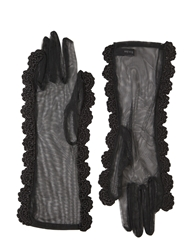 Simone Rocha Gloves With Crocheted Trim Black