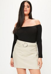 Missguided Plus Size Grey Faux Leather Belted Mini Skirt