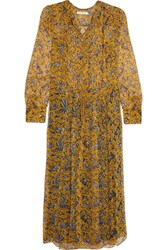 Etoile Isabel Marant Baphir Printed Silk Midi Dress Yellow