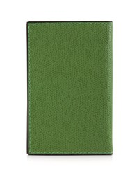 Valextra Leather Business Card Holder Green