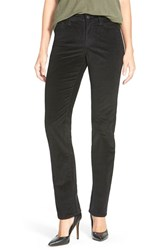 Petite Women's Nydj 'Marilyn' Stretch Straight Leg Corduroy Pants Black