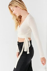Urban Outfitters Uo Cozy Long Sleeve Cropped Wrap Top Ivory