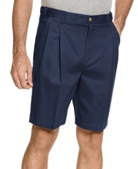 Geoffrey Beene Shorts Extender Waist Double Pleat Shorts Navy