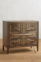 Anthropologie Geo Brass Inlay Three Drawer Dresser Brown