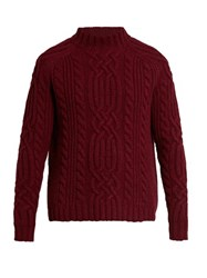 Raey Cable Knit Wool Sweater Red