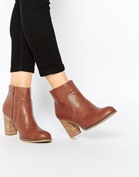 Oasis Block Heel Boot With Stitching Detail Tan