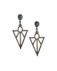 Bavna Sapphire And Champagne Diamond Geometric Drop Earrings