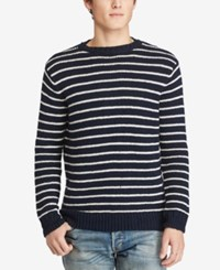Denim And Supply Ralph Lauren Men's Striped Cotton Sweater Navy
