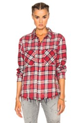 Amiri Grunge Star Flannel Top In Red Checkered And Plaid Red Checkered And Plaid