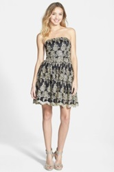 A. Drea Lurex R Embroidered Strapless Fit And Flare Dress Juniors Multi