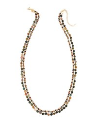 Emily And Ashley Long Double Strand Beaded Necklace Green