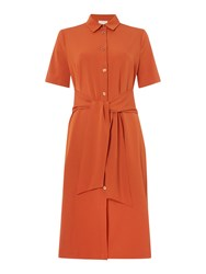 Linea Tie Front Shirt Dress Burnt Orange