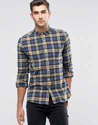 Asos Skinny Shirt With Camel Tartan Check In Long Sleeve Camel