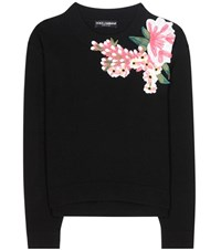 Dolce And Gabbana Applique Wool Cashmere Sweater Black