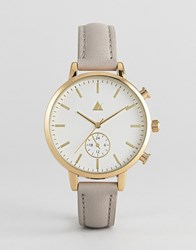 Asos Triple Crown Leather Watch Mink Brown
