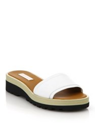 See By Chlo Robin Leather Demi Wedge Slide Sandals White