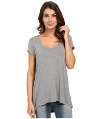 Heather Scoop Neck Tee Women's Short Sleeve Pullover Gray
