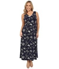 Vince Camuto Plus Size Wood Block Floral V Neck Maxi Dress Evening Navy Women's Dress Gray