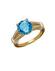 Lord And Taylor Swiss Blue Topaz Diamond And 14K Yellow Gold Ring 0.53 Tcw