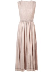 Barbara Casasola Pleated Midi Dress Neutrals