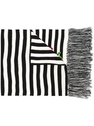 Twin Set Flower Embroidered Striped Scarf Black