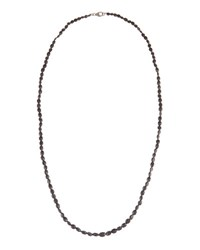 Bavna Long Spinel Beaded Necklace W Pave Diamond Clasp Black