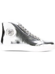 Versus Lion Disc Metallic Hi Top Sneakers Grey