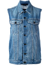 Alexander Wang Sleeveless Denim Jacket Women Cotton Xs Blue