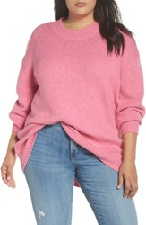 Leith Plus Size High Low Sweater Pink Trillium