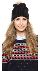 Plush Fleece Lined Hat With Pom Pom Black