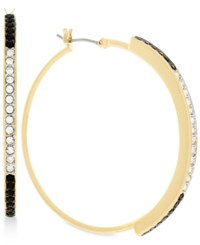 Vince Camuto Gold Tone Clear And Jet Crystal Hoop Earrings