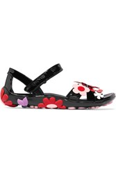 Prada Floral Appliqued Patent Leather Sandals Black