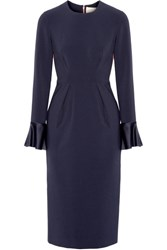Roksanda Ilincic Izumi Paneled Stretch Crepe Midi Dress Midnight Blue