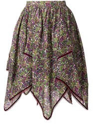 Dsquared2 Floral Handkerchief Skirt Green
