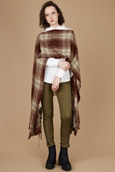 G.V.G.V. Check Poncho Shawl Brown