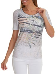 Betty Barclay Embellished Print T Shirt Grey Dark Blue
