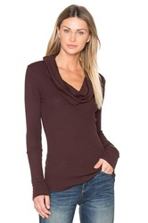Bobi Modal Thermal Cowl Neck Long Sleeve Top Brown