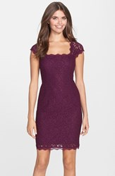 Petite Women's Adrianna Papell Lace Sheath Dress Mulberry