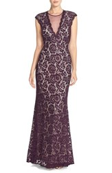 Women's Betsy And Adam Illusion V Neck Lace Trumpet Gown Plum Nude