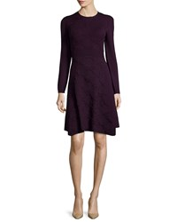 Lela Rose Cashmere Blend Textured Lace Knit Long Sleeve Dress Size Xs Purple Plum