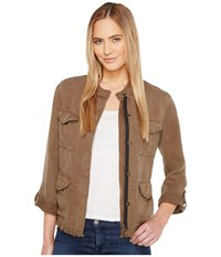 Sanctuary Roy Frayed Surplus Jacket New Brown Olive Women's Coat